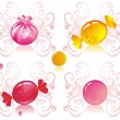 Colored candy on patterned background — Imagen vectorial