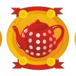 Red Tea Set — Stockvectorbeeld