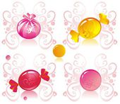 Colored candy on patterned background — Stock Vector