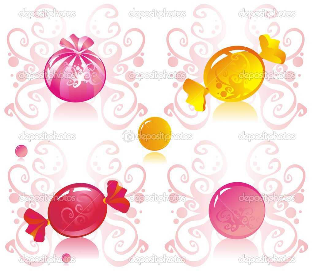 Colored candy on patterned background  — Stock Vector #2529461