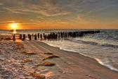 Gold Orange and Pink Sunset on an old pontoon Seaside — Stock Photo