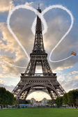 Paris Eiffel Tower France during a sunset — Stock Photo