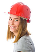 Woman builder in orange helmet — Stock Photo