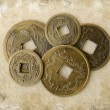 Grunge chinese feng shui coins — Stock Photo