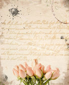 Little pink roses bouquet background — Stock Photo