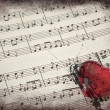 Music score & heart — Photo