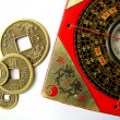 Feng shui compass and coins - Stock Photo