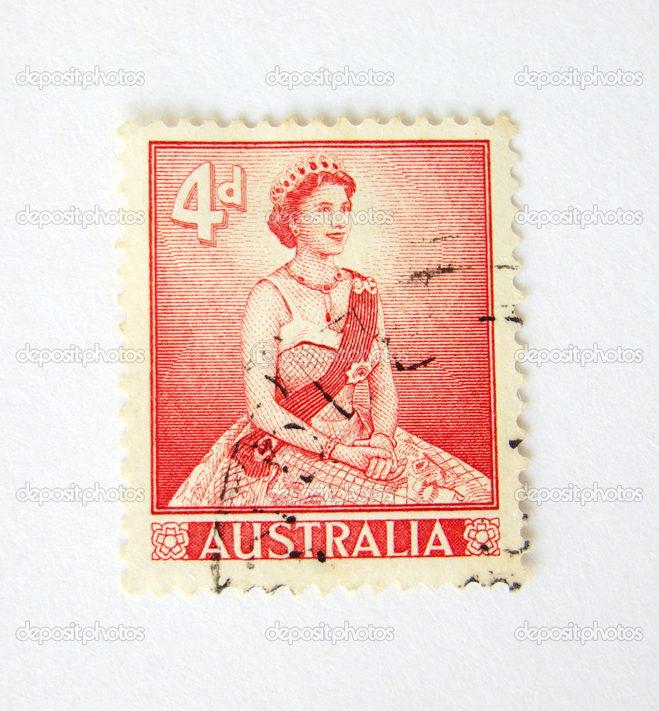 Australia postage stamp with the Queen on white background — Stock Photo #2464467