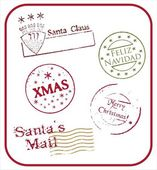 Christmas postmarks - vector — Stock Vector