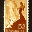 Spain postage stamp with dancers — Stock Photo
