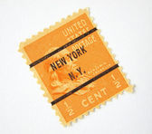 Nous timbre-poste avec cachet de n.y — Photo