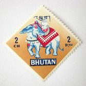 Bhutan postage stamp with elephant — Stock Photo