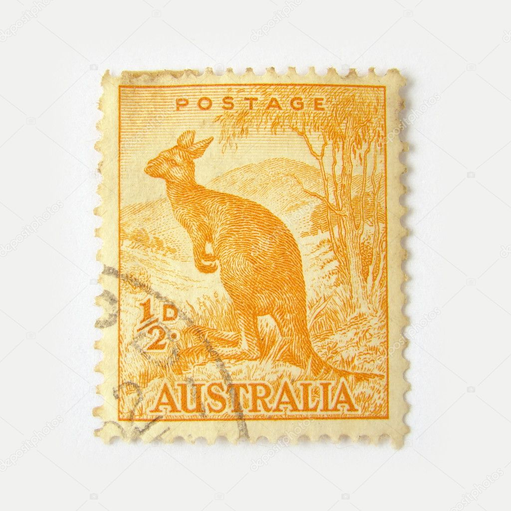 Australia postage stamp with kangaroo on white background  — Stock Photo #2525438
