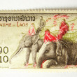 Laos postage stamp with elephant - Stock Photo