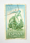 Spain postage stamp with bullfighting — Stock Photo