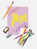 Art tools for drawing — Stock Vector