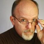 skallig man med glasögon — Stockfoto