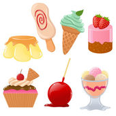 Set of cute vector desserts — Stock Vector
