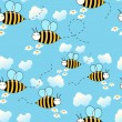 Seamless cute flying bees background — Stok Vektör