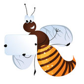 Bee holding a card with your text — Stock Vector