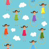 Seamless cute jumping girls background — Stock Vector