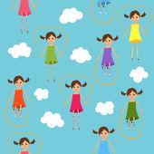 Bezešvé roztomilá skákací dívky pozadí — Stock vektor