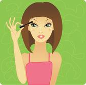 Girl applying make up — Stock Vector