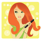 Hair straightening — Stock Vector