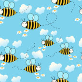 Seamless cute flying bees background — Stock Vector
