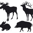 Silhouettes of animals — Vector de stock