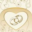 Card with wedding rings — Vector de stock