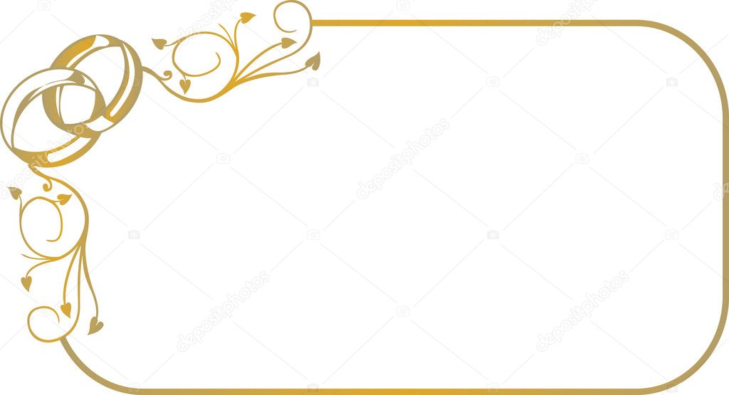 Decorative gold frame with wedding rings  Imagen vectorial #2591179
