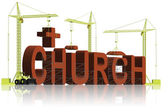 Building a christian church with cross — Stock Photo