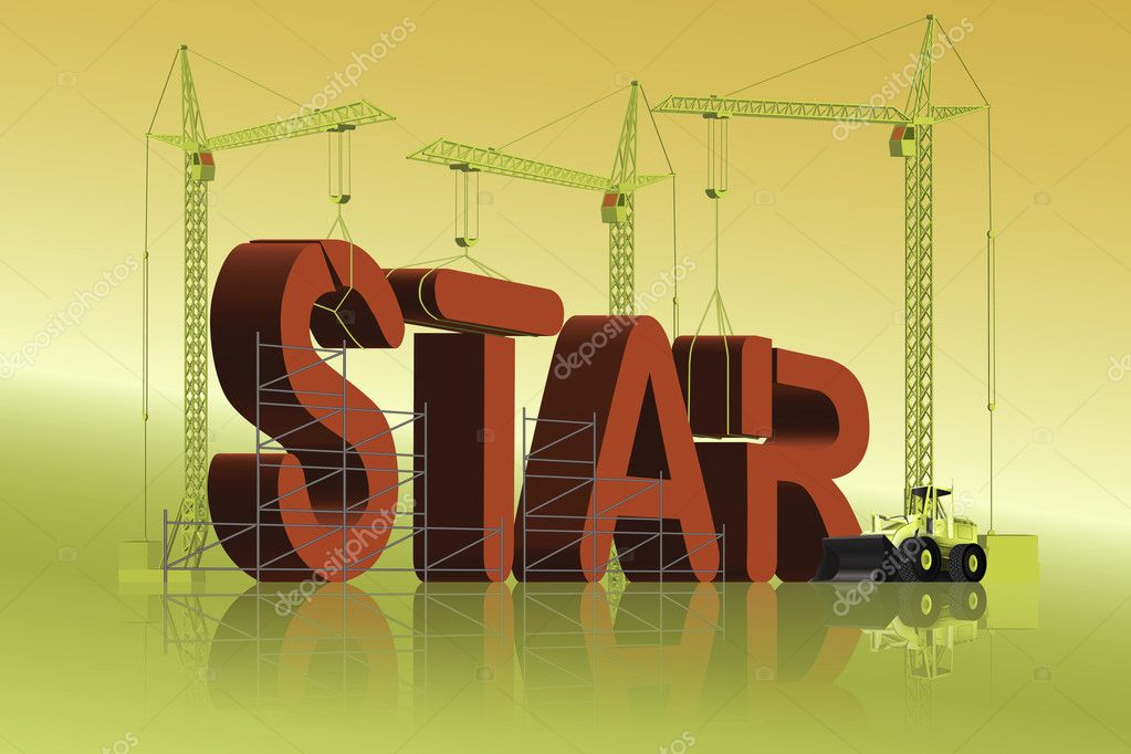 Tower cranes creating 3D word — Stock Photo #2437616