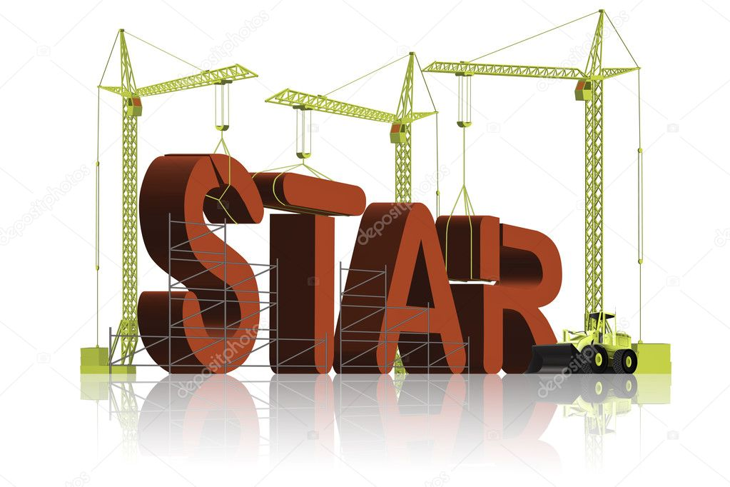 Tower cranes creating 3D word — Stock Photo #2437629