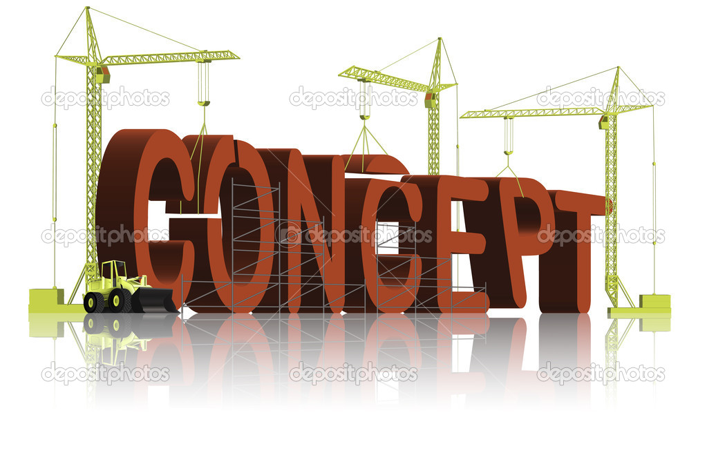 Tower cranes creating 3D word — Stock Photo #2437642