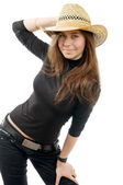 Portrait of a sexy young woman in hat — Stock Photo