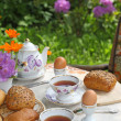 Breakfast in the garden — Stock Photo #2494470
