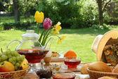 Breakfast in the garden. — Stock Photo