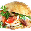 Stock Photo: Doner kebab on white.