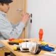Installing a light switch. — Stock Photo