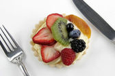 Delicious Fruit Tart with Knife and Fork — Stock Photo
