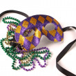 Mardi Gras Mask and Beads — Stock Photo #2484080