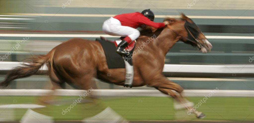 Slow shutter speed rendering of one racing horse and rider — Stock Photo #2487601