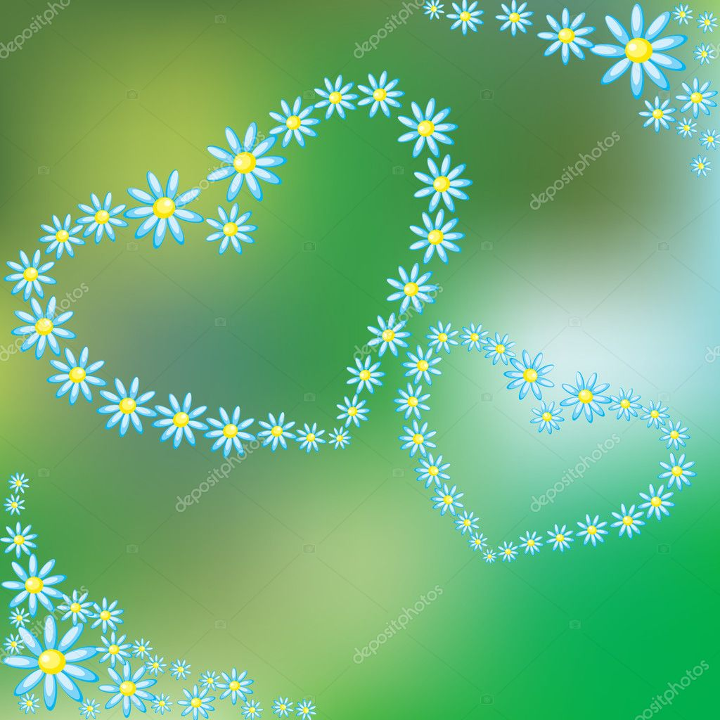 Two Hearts of chamomile on a green background — Stock Vector #2522935