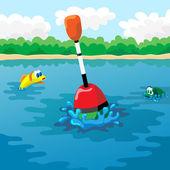 Float in water — Stock Vector