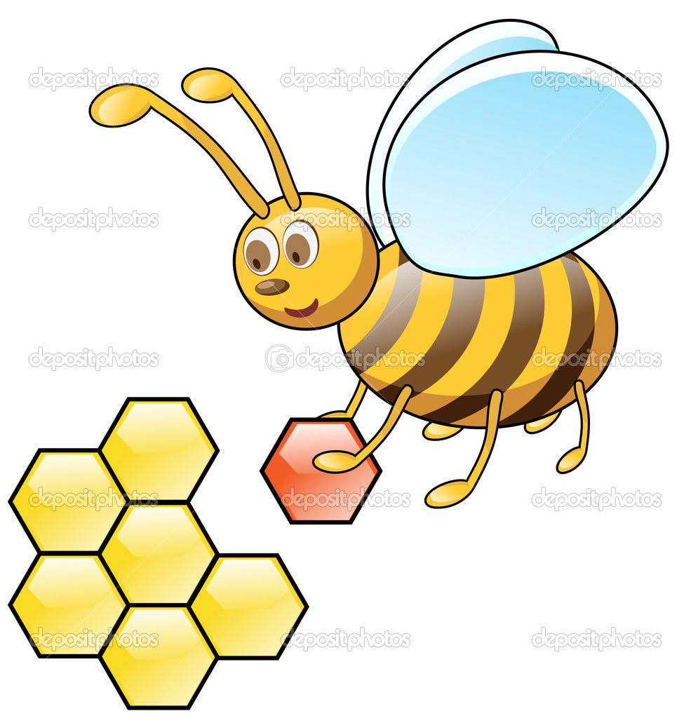 Sweet bee flies with honeycombs — Stock Vector #2571488