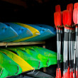 Canoes and paddles — Stock Photo