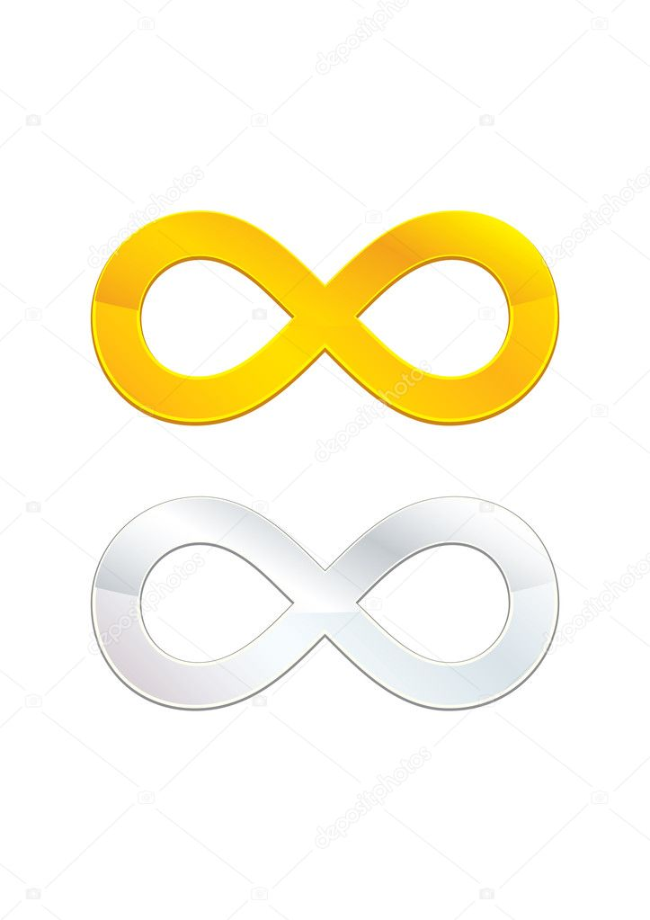Two isolated golden and silver infinity symbols — Stock Vector #2612549