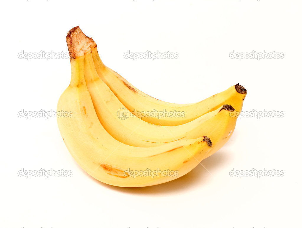 Three mature bananas on white background — Stock Photo #2494930